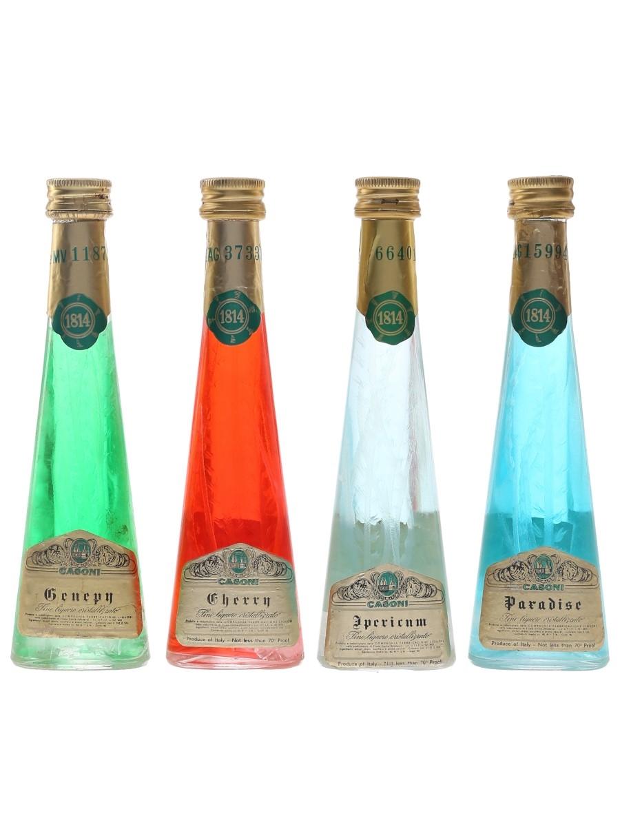 Casoni Cristallizzato Liqueurs Bottled 1970s - Apericum, Cherry, Genepy & Paradise 4 x 4cl / 40%