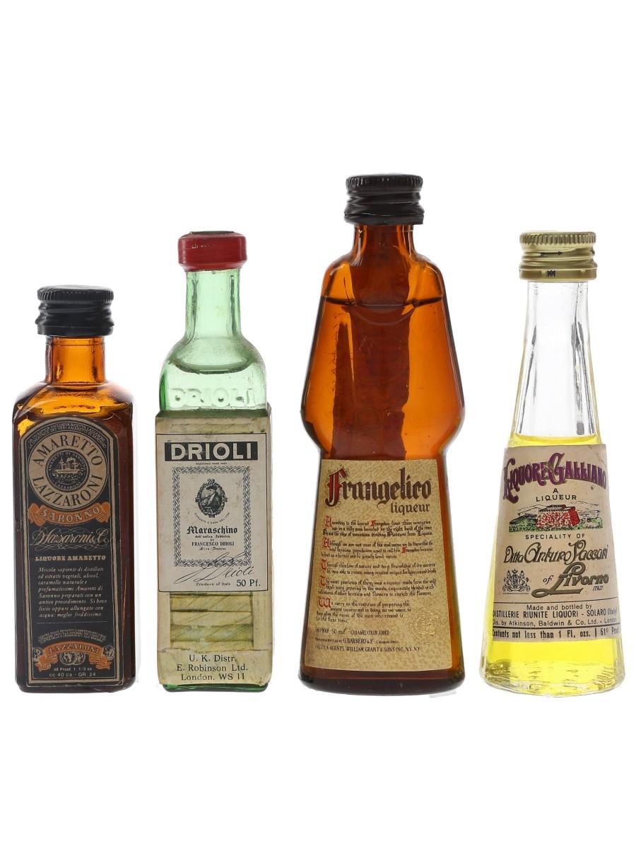 Assorted Italian Liqueurs Drioli, Frangelico, Galliano & Lazzaroni 4 x 2.8cl-5cl