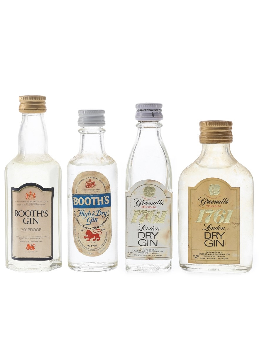 Booth's & Greenall's 1761 Gin Bottled 1970s 4 x 4.7cl-5cl