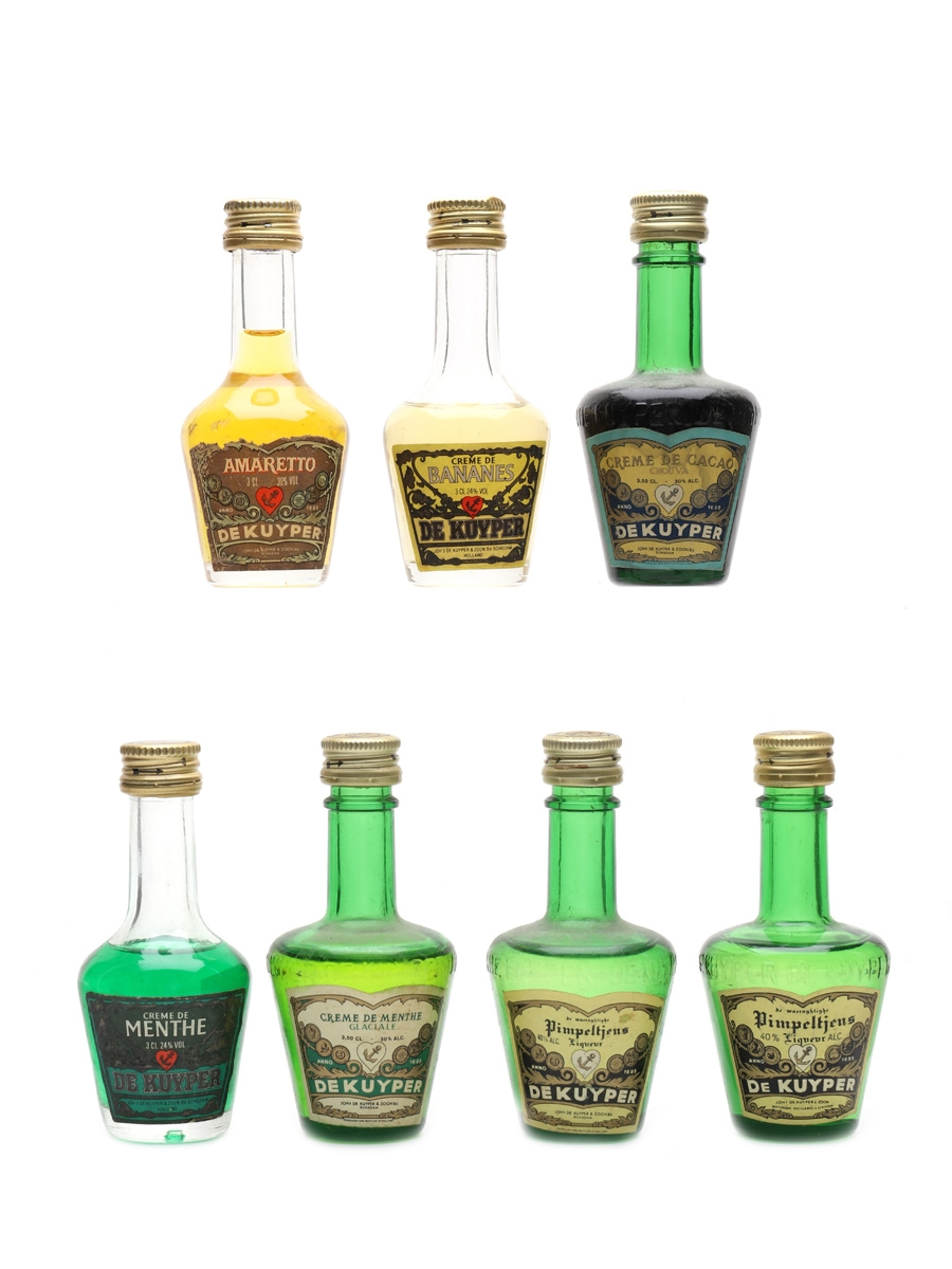 Assorted De Kuyper Liqueurs Bottled 1980s 7 x 3cl-3.5cl