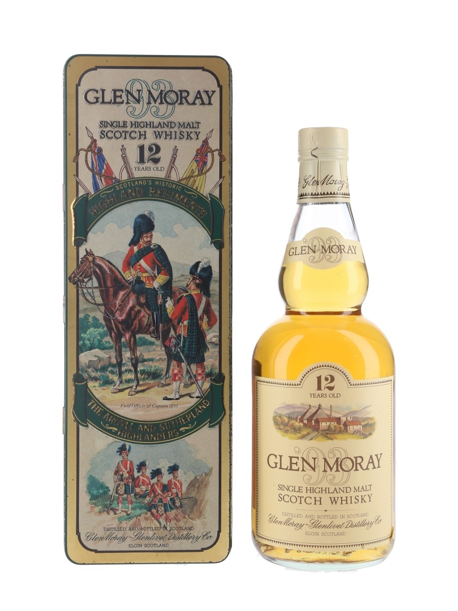Glen Moray 12 Year Old Bottled 1980s - Scotland's Historic Highland Regiments 75cl / 40%