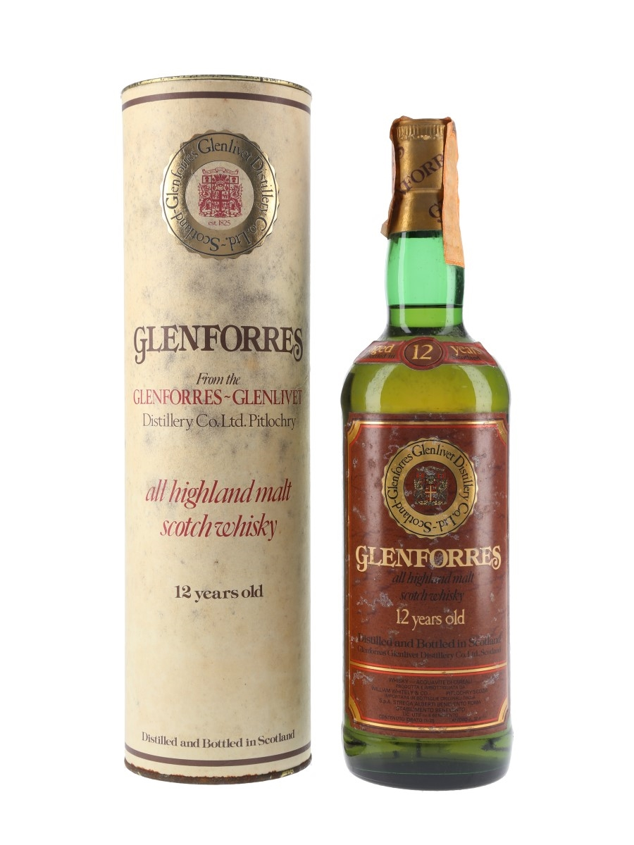 Glenforres 12 Year Old Bottled 1980s - Strega Alberti 75cl