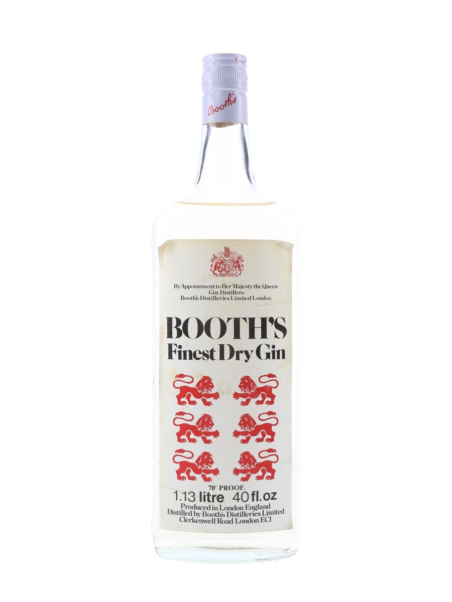 Booth's Finest Dry Gin Bottled 1970s 113cl / 40%
