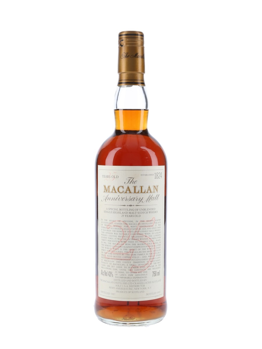 Macallan 1967 25 Year Old Anniversary Malt Bottled 1993 - Remy Amerique 75cl / 43%