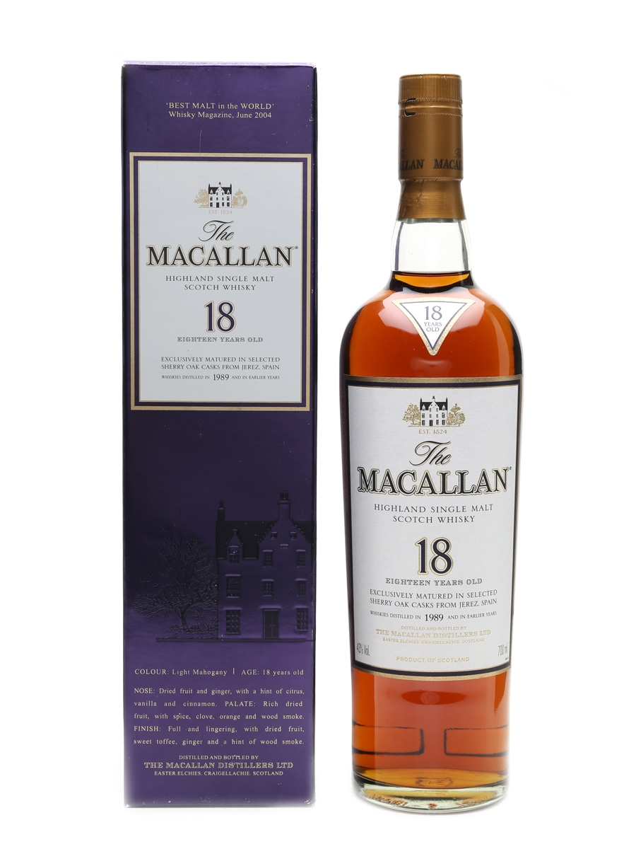 Macallan 1989 And Earlier 18 Year Old 70cl / 43%