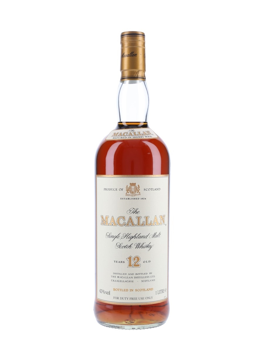 Macallan 12 Year Old Bottled 1990s - Duty Free 100cl / 43%