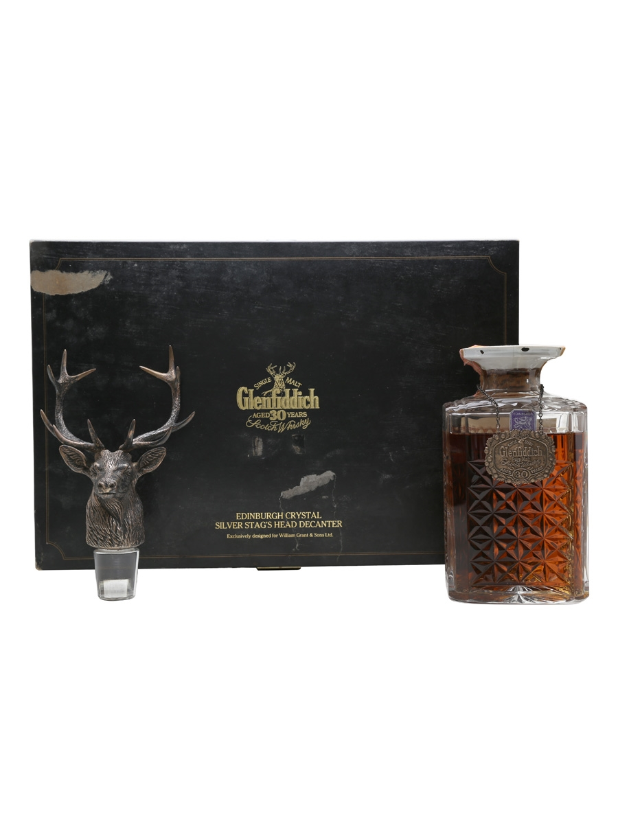 Glenfiddich 30 Year Old Silver Stag's Head Crystal Decanter 75cl / 43%