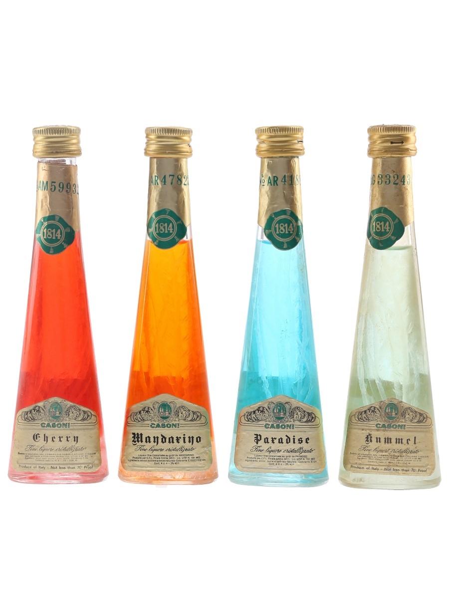Casoni Cristallizzato Liqueurs Bottled 1970s - Cherry, Kummel, Mandarino, Paradise 4 x 4cl / 40%