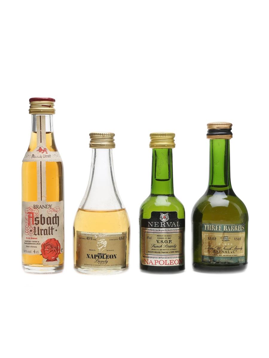 Brandy Miniatures Incl. Asbach & Three Barrels 3cl, 4cl, 4.6cl & 5cl