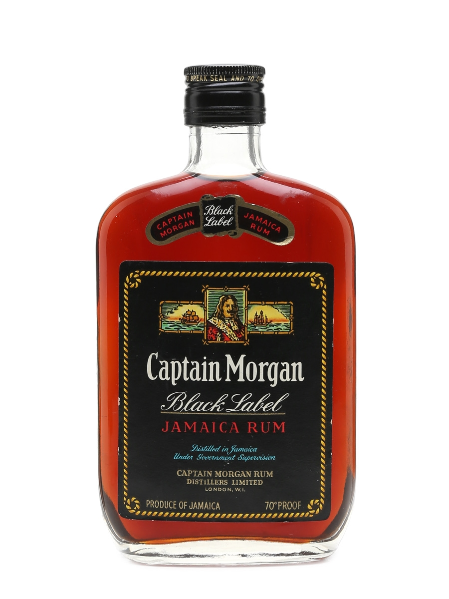 Captain Morgan Black Label Jamaica Rum Bottled 1970s 37.5cl