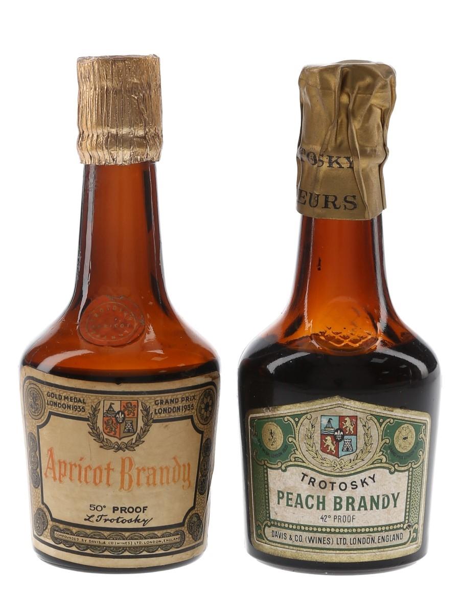 Trotosky Apricot & Peach Brandy Bottled 1950s-1960s 2 x 5cl / 24%