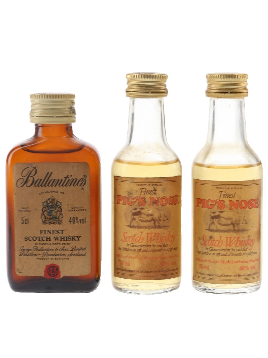 Ballantine's & Pig's Nose Bottled 1980s 3 x 5cl / 40%