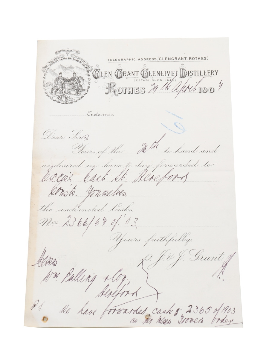 Glen Grant Glenlivet Distillery Notice Of Shipment, Dated 1907 William Pulling & Co.