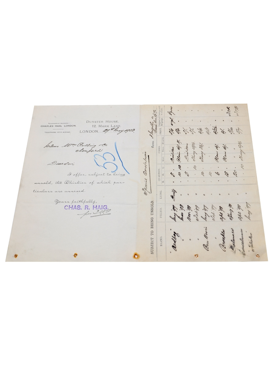Charles Haig Price List, Dated 1903 William Pulling & Co.