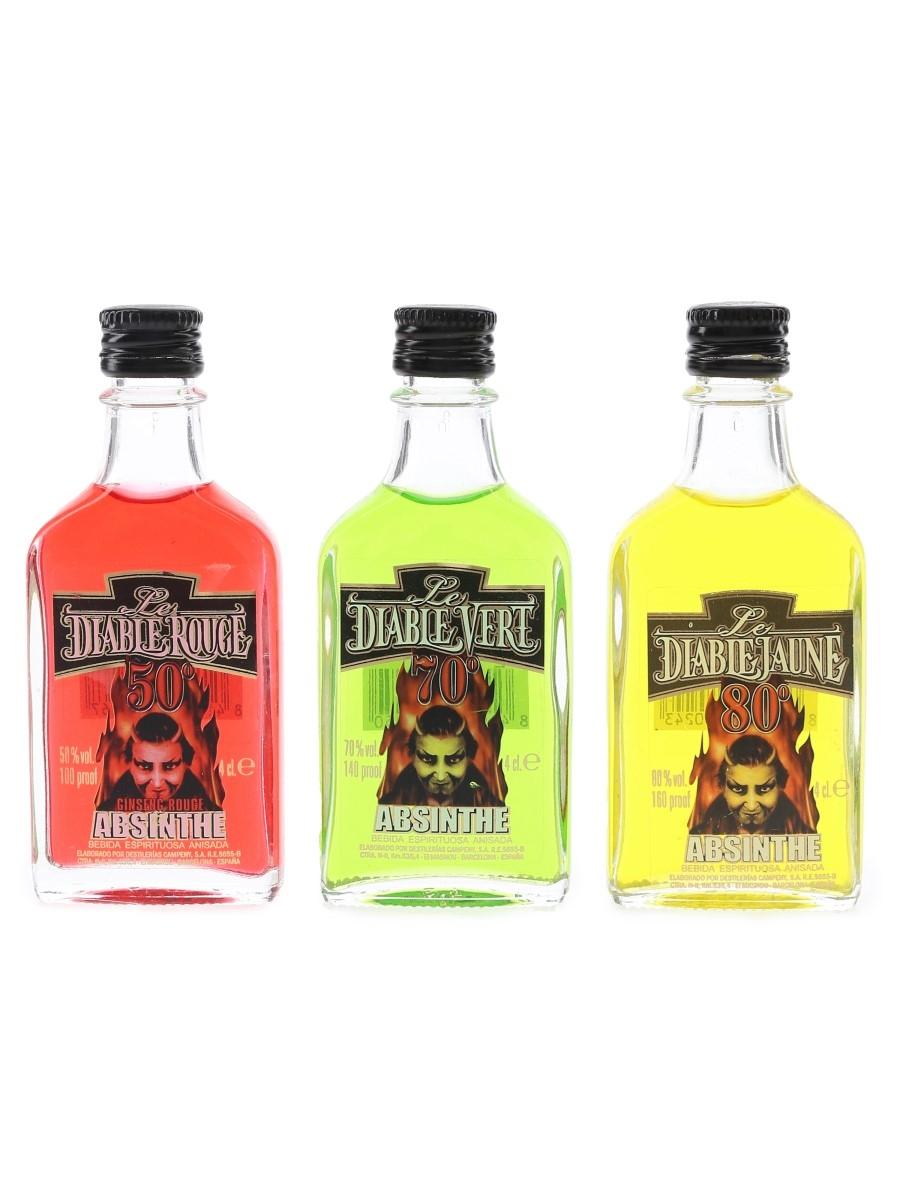 Le Diable Jaune, Rouge & Vert Absinthe  3 x 4cl
