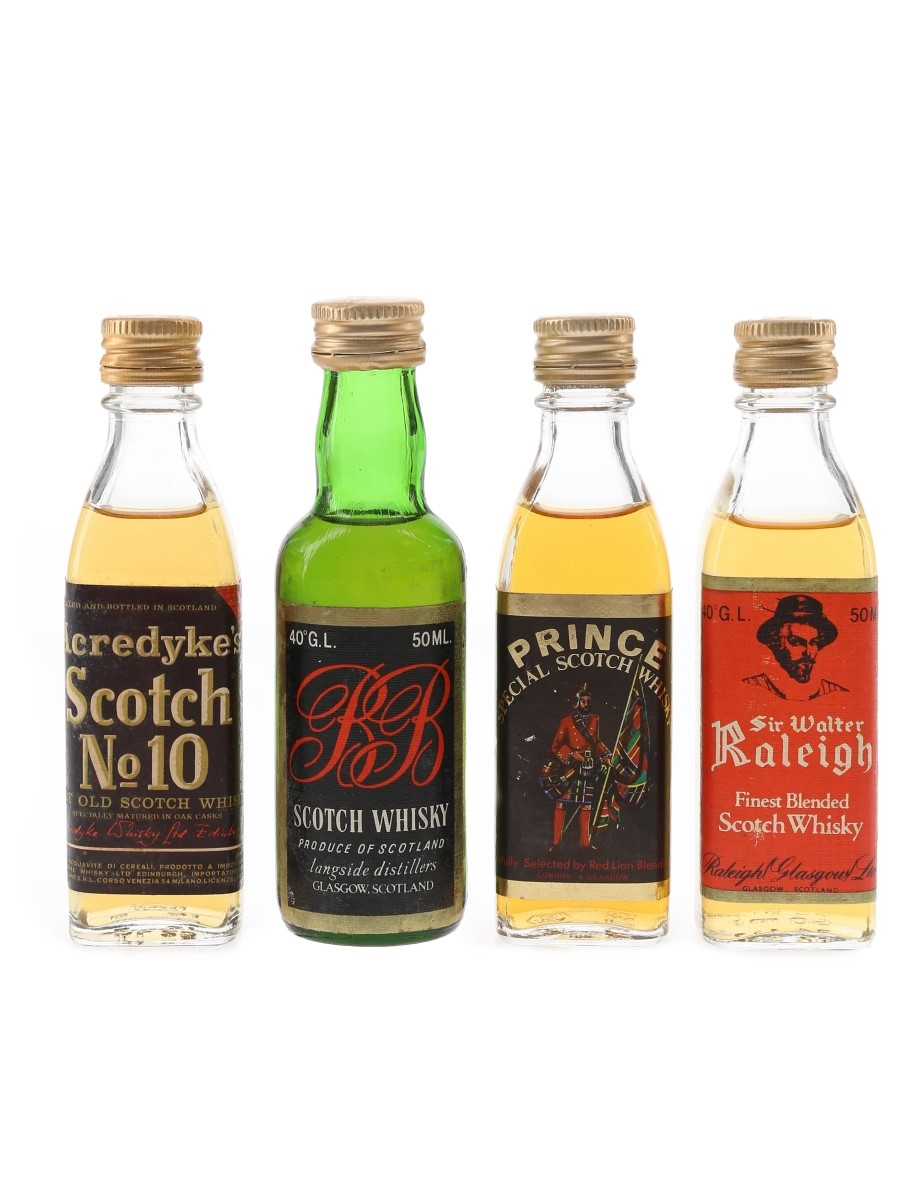 Acredyke's, Prince, R B & Sir Walter Raleigh Bottled 1980s 4 x 4cl-5cl