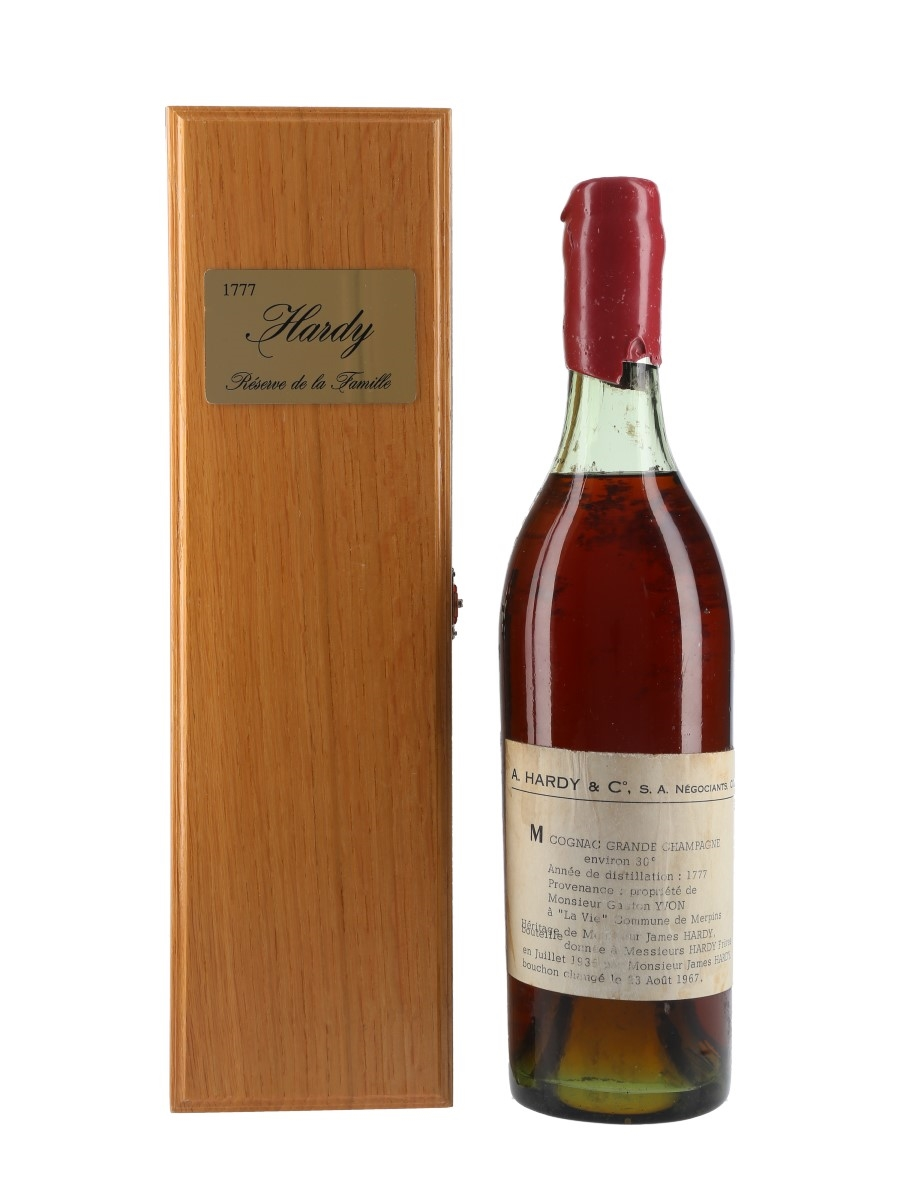 Jacques Hardy 1777 Grande Champagne Cognac Bottled 1936, Re-corked 1967 70cl