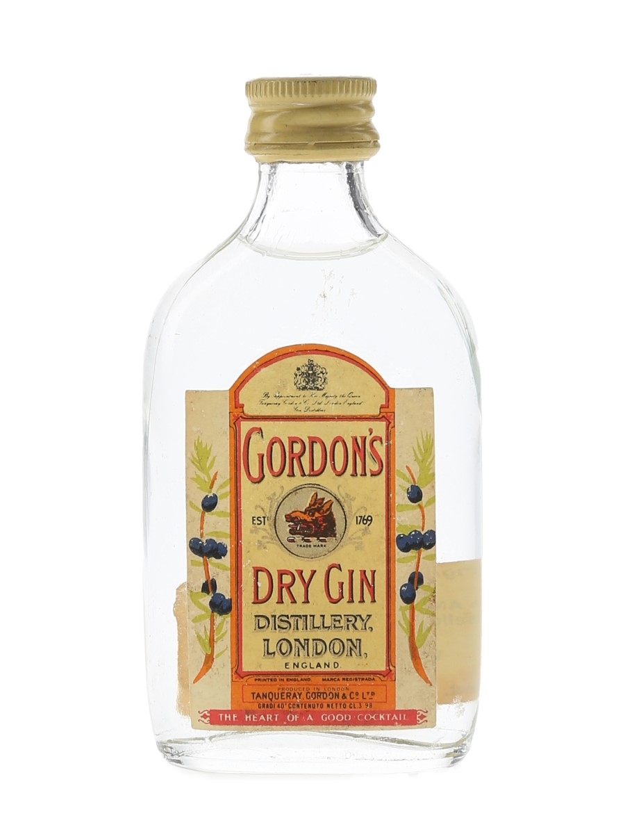 Gordon's Dry Gin Bottled 1970s - Wax & Vitale 3.98cl / 40%