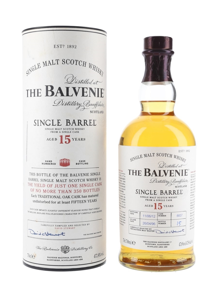 Balvenie 1996 15 Year Old Single Barrel 8837 Bottled 2012 70cl / 47.8%