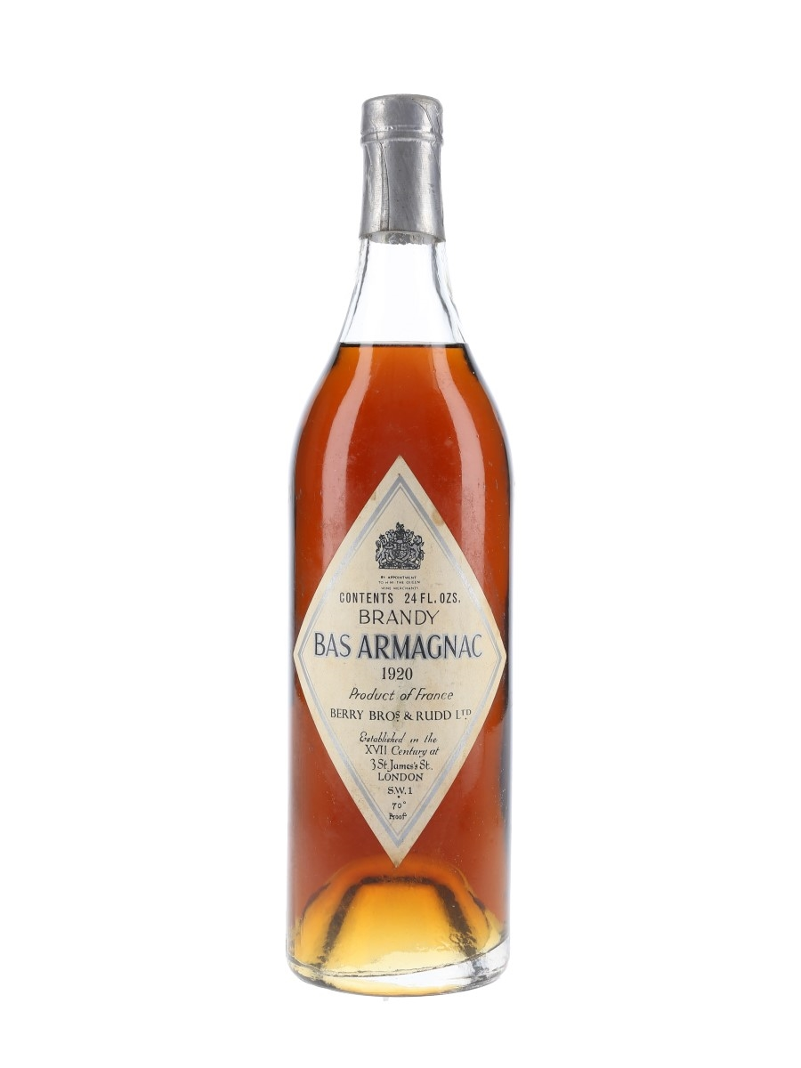 Berry Bros & Rudd 1920 Bas Armagnac Bottled 1960s 68cl / 40%