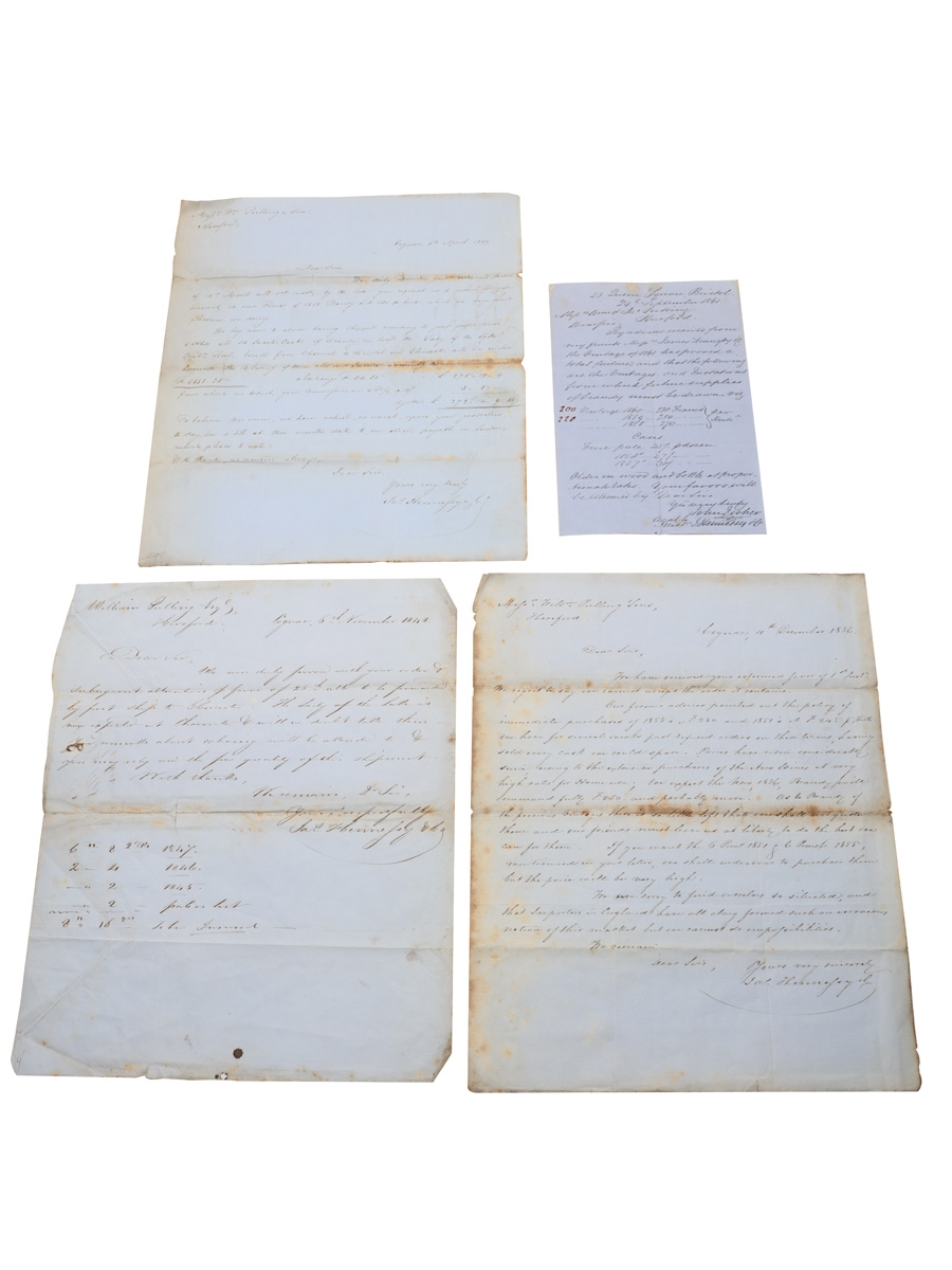 Hennessy Correspondence & Receipts, Dated 1848-1861 William Pulling & Co.