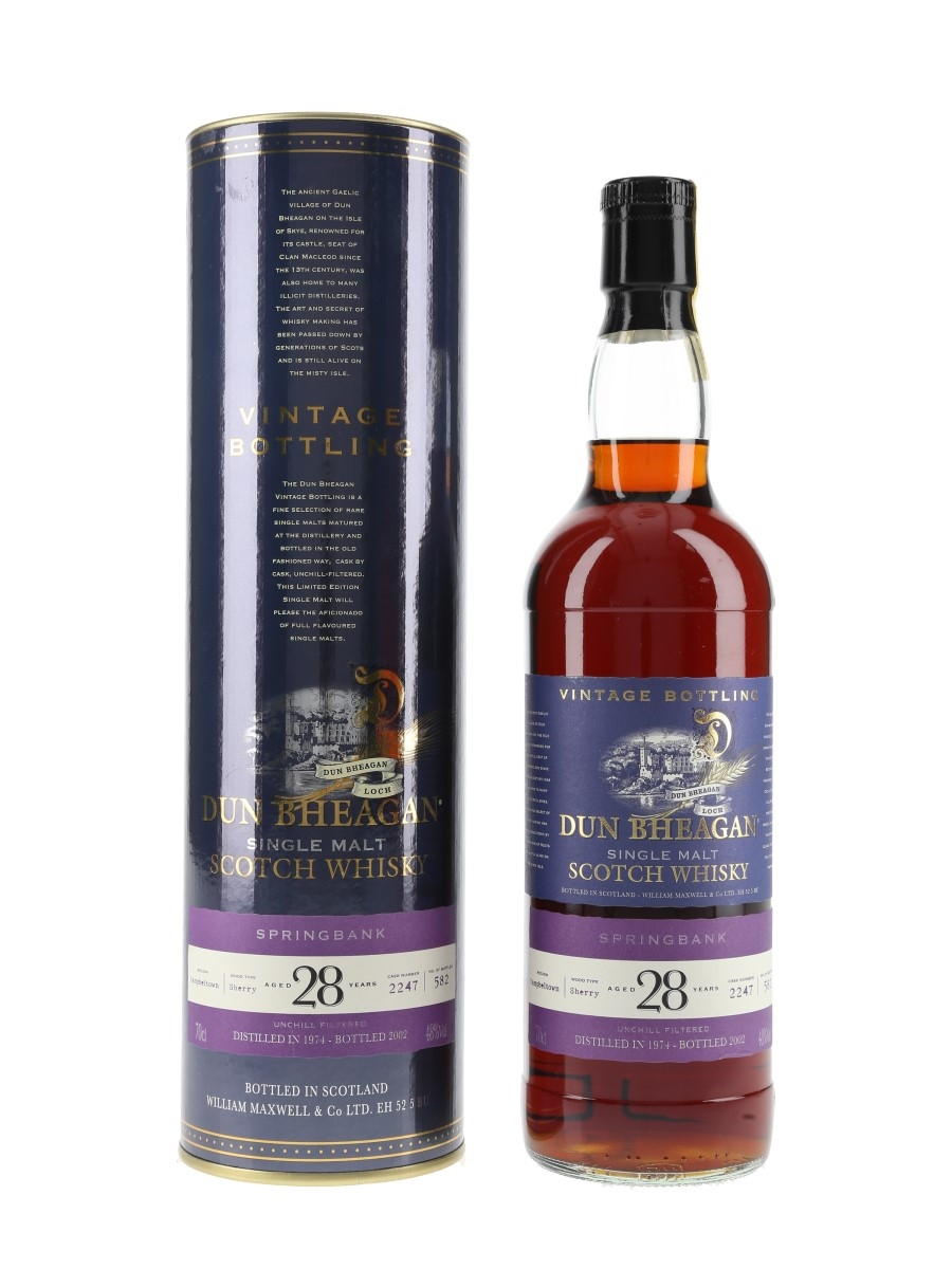 Springbank 1974 28 Year Old Sherry Cask 2247 Bottled 2002 - Dun Bheagan 70cl / 48%