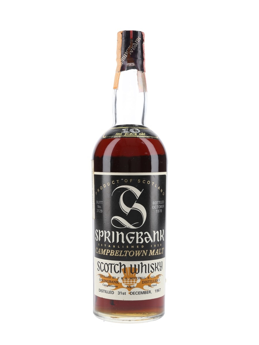 Springbank 1967 10 Year Old Sherry Butt 3129 Bottled 1978 - Sutti Import 75cl / 59%