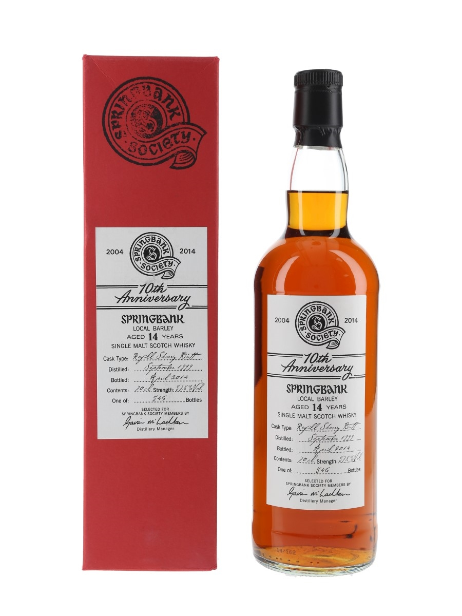 Springbank 1999 14 Year Old Bottled 2014 - Springbank Society 10th Anniversary 70cl / 57.8%