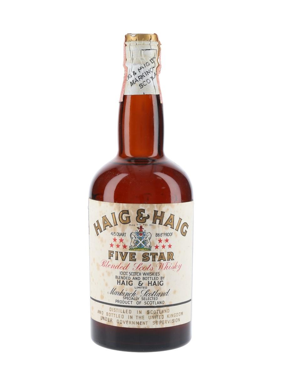 Haig & Haig Five Star Spring Cap Bottled 1950s - Renfield Importers 75.7cl / 43.4%