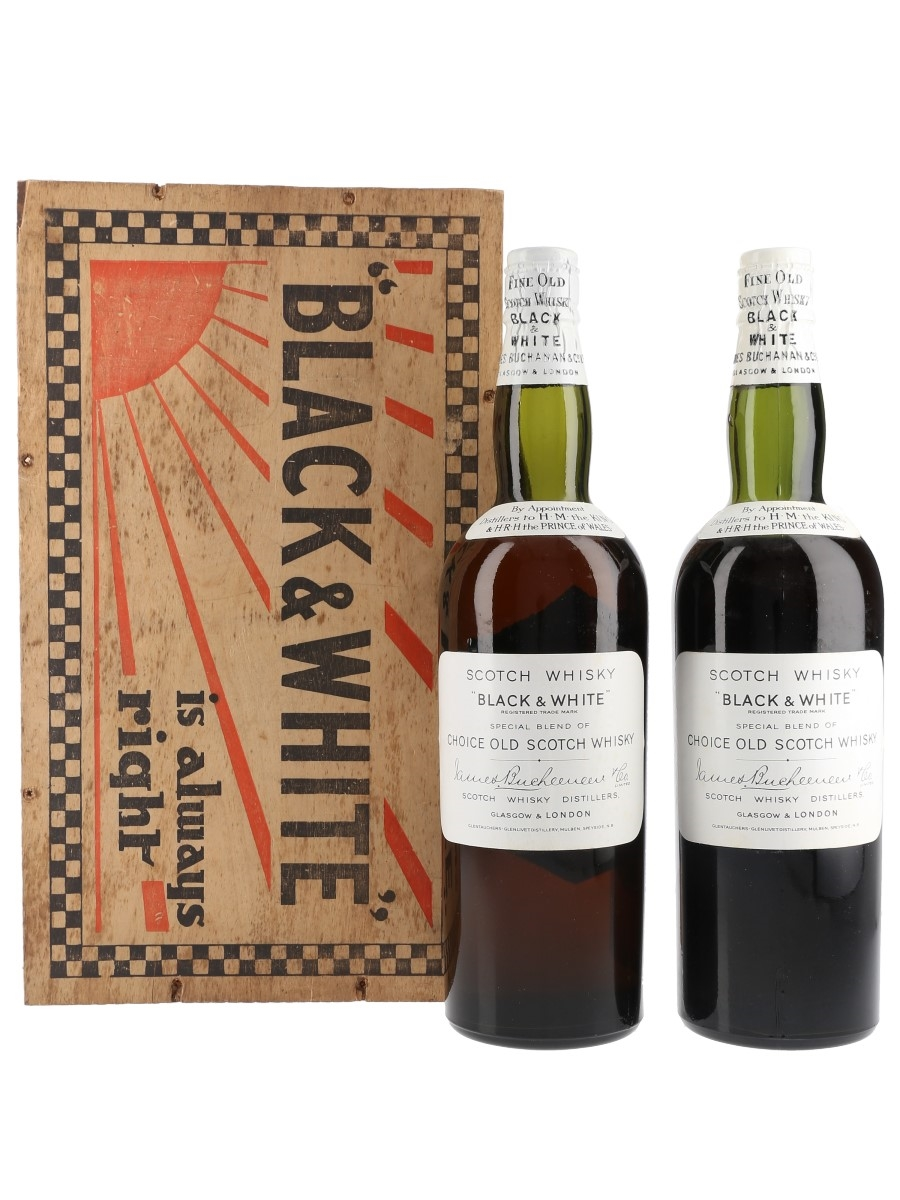 Buchanan's Black & White Spring Cap - The Real Christmas Spirit Bottled 1930s - Christmas Gift Box 2 x 75cl / 40%