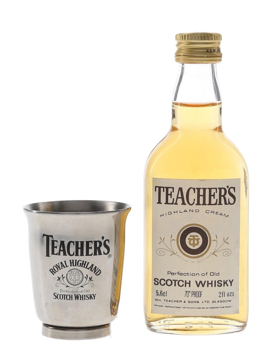 Teacher's Highland Cream & Stainless Steel Shot Glass Bottled 1970s 5.6cl / 40%