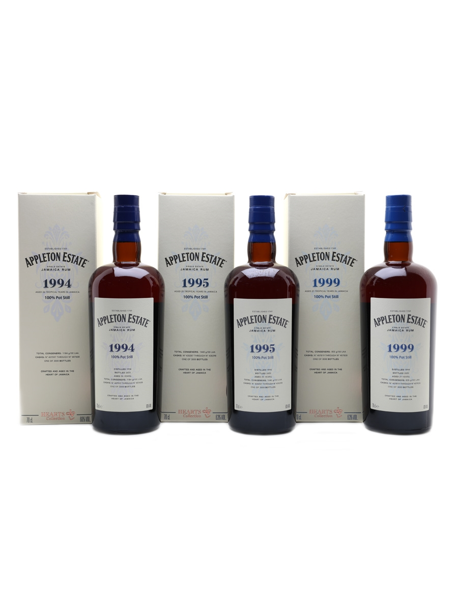 Appleton Estate Hearts Collection 1994, 1995 & 1999 3 x 70cl