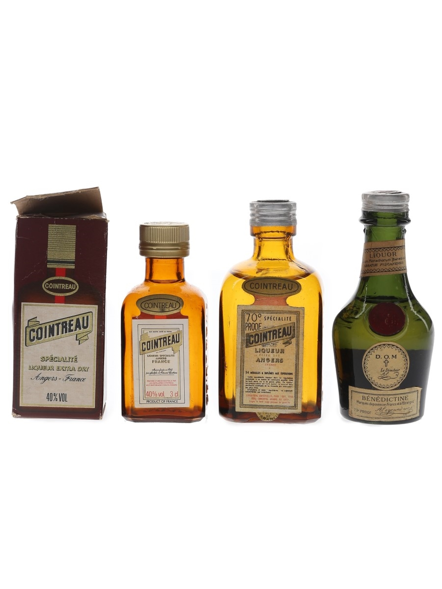 Cointreau & DOM Benedictine Bottled 1960s & 1980s 3 x 3cl-5cl