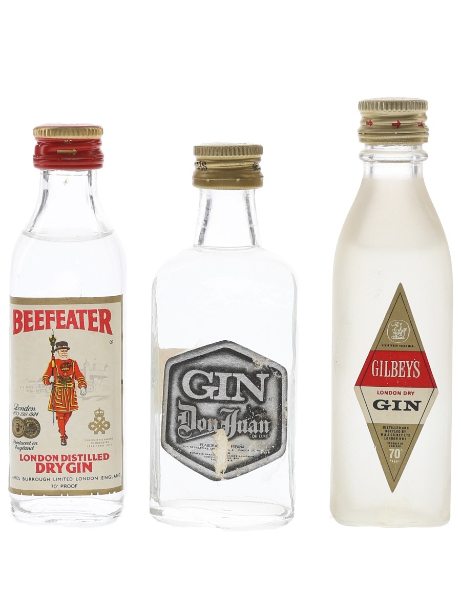 Beefeater, Don Juan & Gilbey's Bottled 1970s 3 x 5cl / 40%