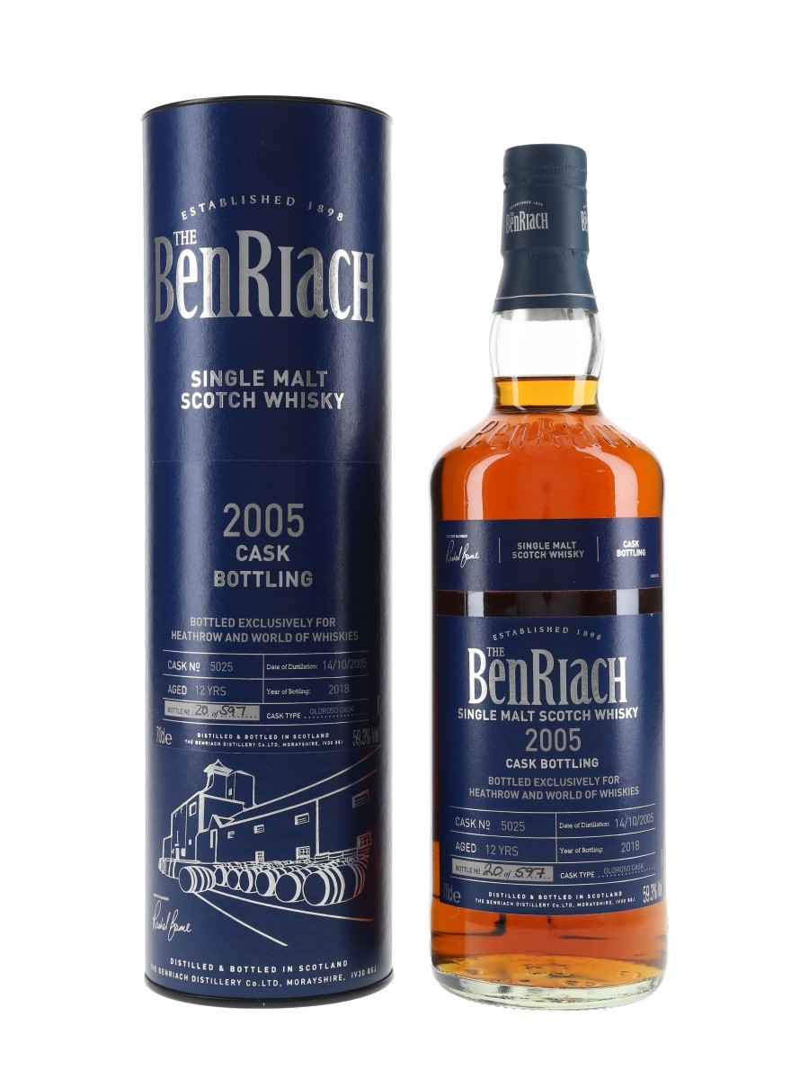 Benriach 2005 12 Year Old Cask #5025 Bottled 2018 - Heathrow And World Of Whiskies 70cl / 59.3%